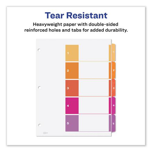 Customizable Table of Contents Ready Index Dividers with Multicolor Tabs, 5-Tab, 1 to 5, 11 x 8.5, White, 3 Sets. Picture 3