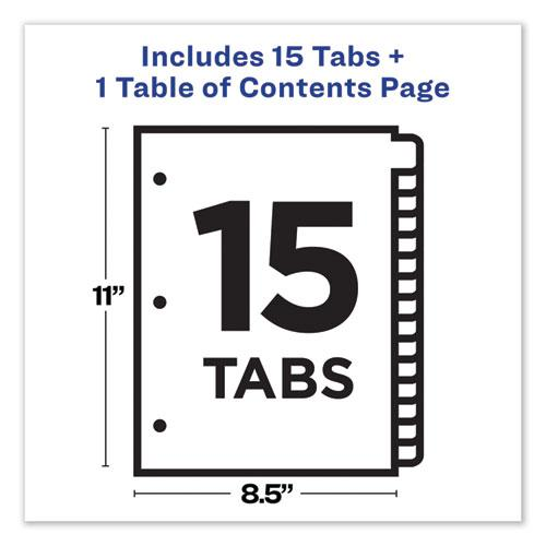 Customizable Table of Contents Ready Index Dividers with Multicolor Tabs, 15-Tab, 1 to 15, 11 x 8.5, Translucent, 1 Set. Picture 3