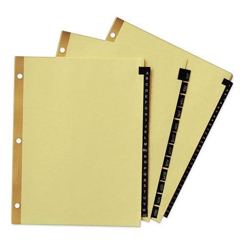 Preprinted Black Leather Tab Dividers w/Gold Reinforced Edge, 12-Tab, Ltr. Picture 7