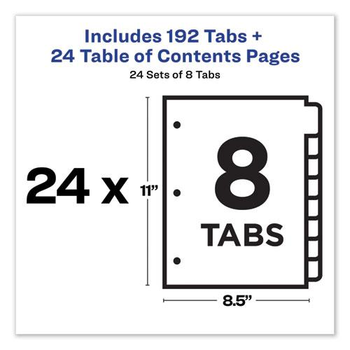 Customizable TOC Ready Index Multicolor Dividers, 8-Tab, Letter, 24 Sets. Picture 2