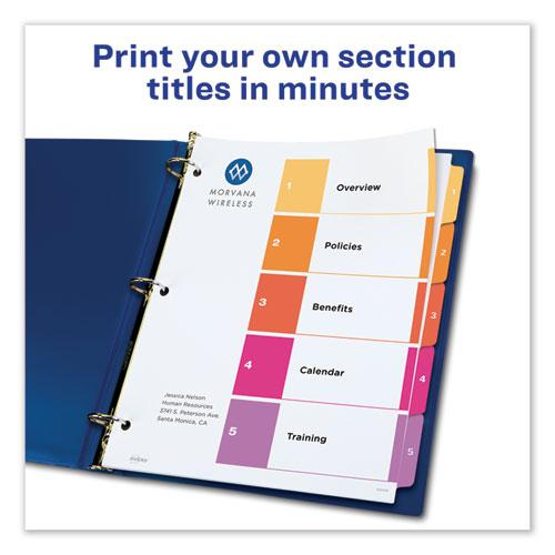 Customizable TOC Ready Index Multicolor Dividers, 5-Tab, Letter, 24 Sets. Picture 6