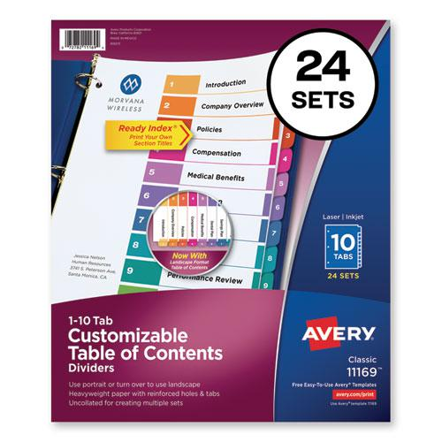 Customizable TOC Ready Index Multicolor Dividers, 10-Tab, Letter, 24 Sets. Picture 1