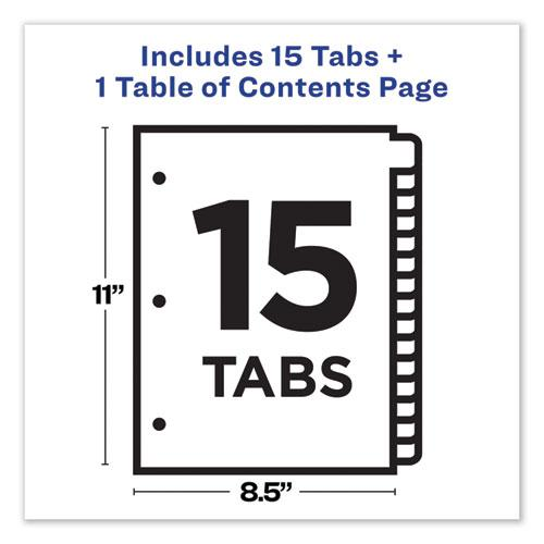 Customizable TOC Ready Index Black and White Dividers, 15-Tab, Letter. Picture 7