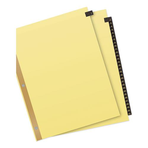 Preprinted Black Leather Tab Dividers w/Gold Reinforced Edge, 31-Tab, Ltr. Picture 6