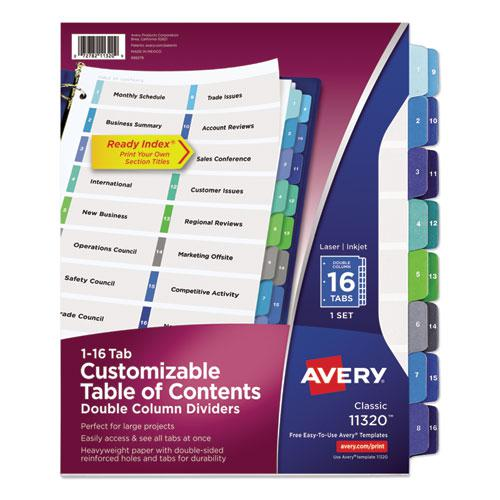 Customizable TOC Ready Index Double Column Multicolor Dividers, 16-Tab, Letter. Picture 1