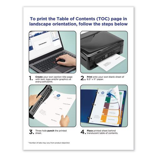 Customizable Table of Contents Ready Index Dividers with Multicolor Tabs, 15-Tab, 1 to 15, 11 x 8.5, Translucent, 1 Set. Picture 2
