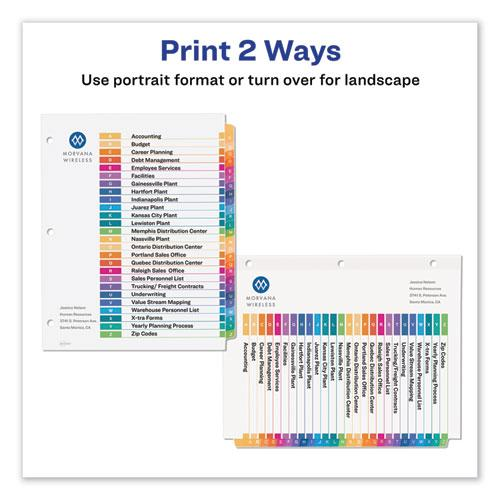 Customizable Table of Contents Ready Index Dividers with Multicolor Tabs, 26-Tab, A to Z, 11 x 8.5, White, 1 Set. Picture 2