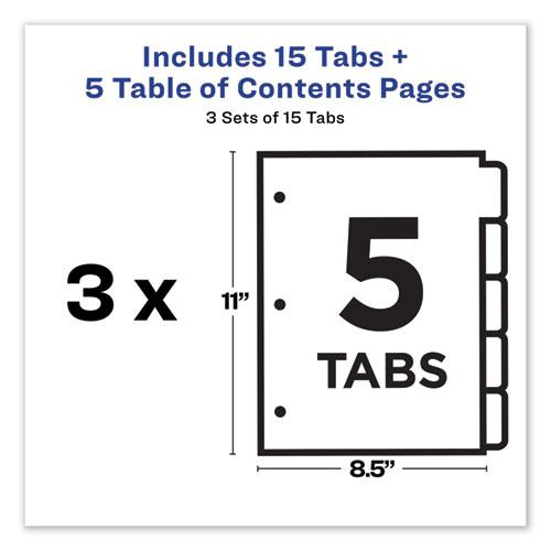 Customizable Table of Contents Ready Index Dividers with Multicolor Tabs, 5-Tab, 1 to 5, 11 x 8.5, White, 3 Sets. Picture 6