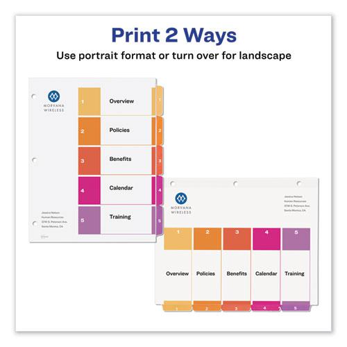 Customizable TOC Ready Index Multicolor Dividers, 5-Tab, Letter, 24 Sets. Picture 3