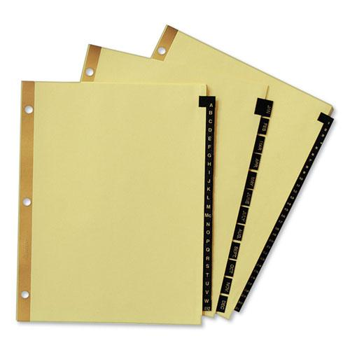 Preprinted Black Leather Tab Dividers w/Gold Reinforced Edge, 31-Tab, Ltr. Picture 5