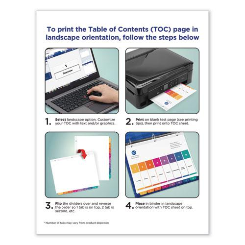 Customizable Table of Contents Ready Index Dividers with Multicolor Tabs, 10-Tab, 1 to 10, 11 x 8.5, White, 3 Sets. Picture 8