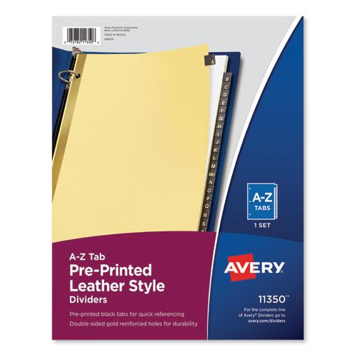 Preprinted Black Leather Tab Dividers w/Gold Reinforced Edge, 25-Tab, Ltr. Picture 1