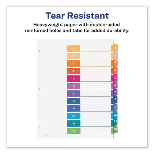 Customizable Table of Contents Ready Index Dividers with Multicolor Tabs, 12-Tab, 1 to 12, 11 x 8.5, White, 3 Sets. Picture 6