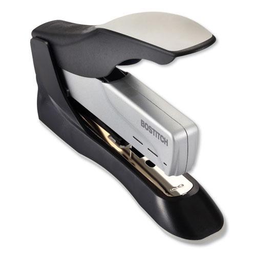 Spring-Powered Premium Heavy-Duty Stapler, 100-Sheet Capacity, Black/Silver. Picture 3