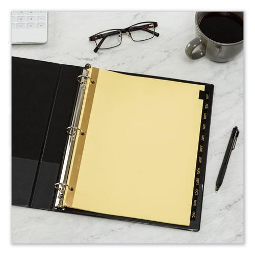 Preprinted Black Leather Tab Dividers w/Gold Reinforced Edge, 12-Tab, Ltr. Picture 4