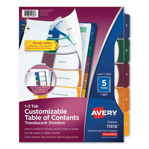 Customizable Table of Contents Ready Index Dividers with Multicolor Tabs, 5-Tab, 1 to 5, 11 x 8.5, Translucent, 1 Set. Picture 1
