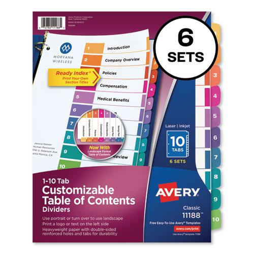 Customizable TOC Ready Index Multicolor Dividers, 10-Tab, Letter, 6 Sets. Picture 1
