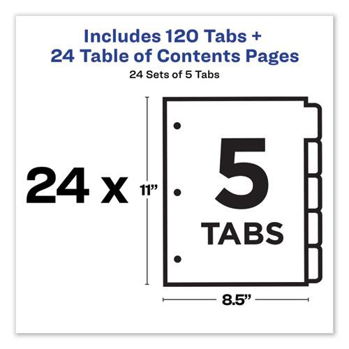 Customizable TOC Ready Index Multicolor Dividers, 5-Tab, Letter, 24 Sets. Picture 2