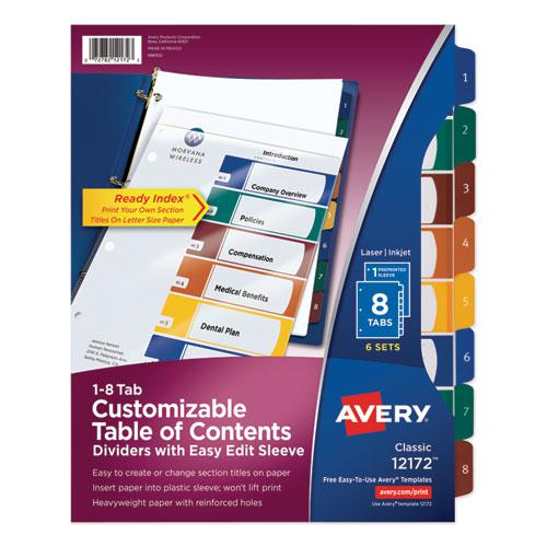 Ready Index Customizable Table of Contents, Asst Dividers, 8-Tab, Ltr, 6 Sets. Picture 1