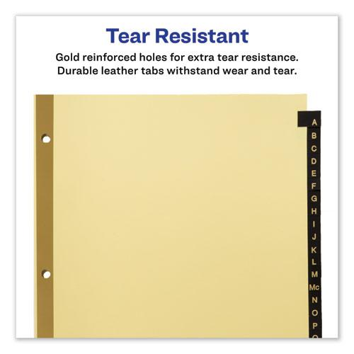 Preprinted Black Leather Tab Dividers w/Gold Reinforced Edge, 25-Tab, Ltr. Picture 5