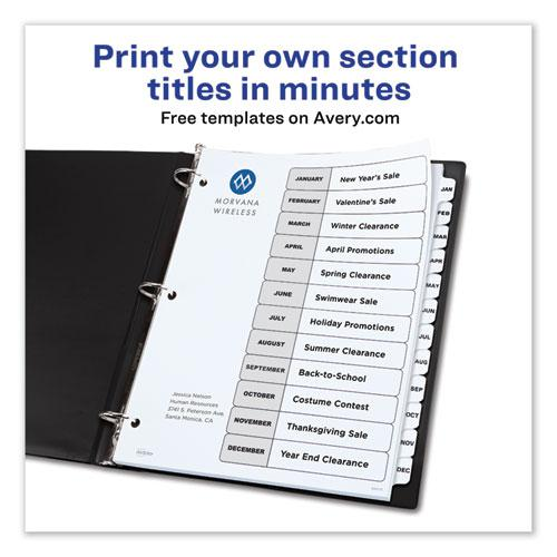 Customizable TOC Ready Index Black and White Dividers, 12-Tab, Letter. Picture 4