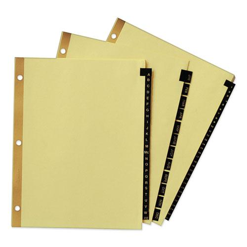 Preprinted Black Leather Tab Dividers w/Gold Reinforced Edge, 25-Tab, Ltr. Picture 2