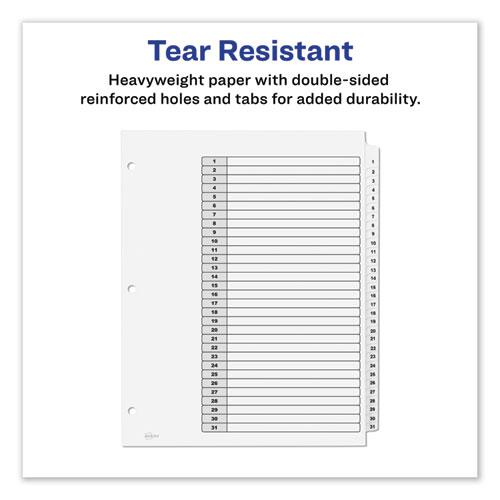 Customizable TOC Ready Index Black and White Dividers, 31-Tab, Letter. Picture 6