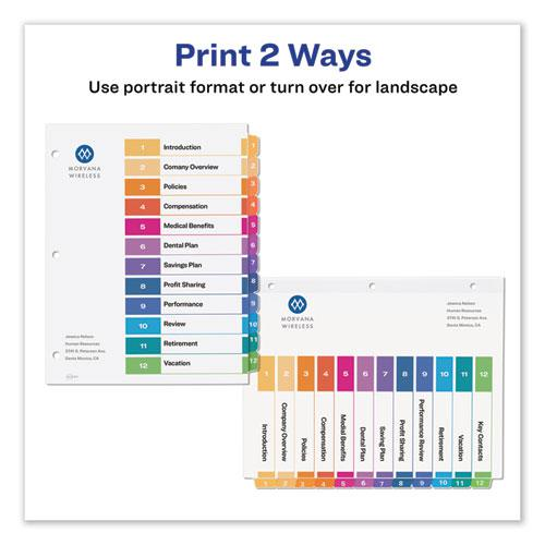 Customizable TOC Ready Index Multicolor Dividers, 12-Tab, Letter, 6 Sets. Picture 7
