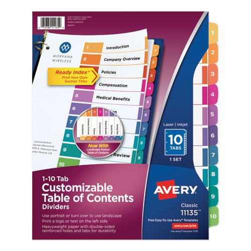 Customizable TOC Ready Index Multicolor Dividers, 10-Tab, Letter. Picture 1