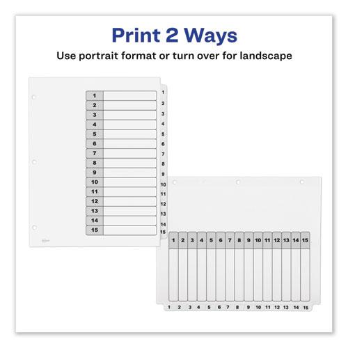 Customizable TOC Ready Index Black and White Dividers, 15-Tab, Letter. Picture 2