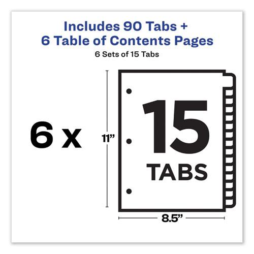 Customizable TOC Ready Index Multicolor Dividers, 15-Tab, Letter, 6 Sets. Picture 7
