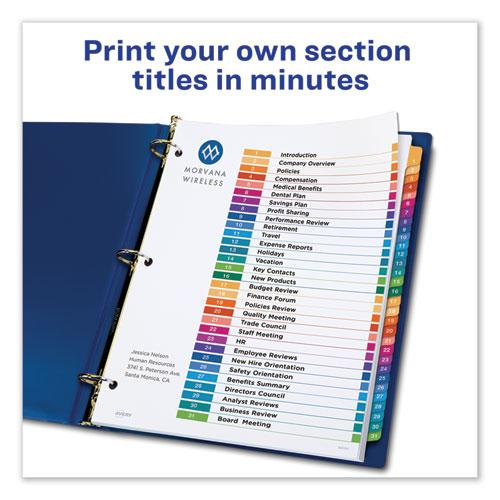 Customizable Table of Contents Ready Index Dividers with Multicolor Tabs, 31-Tab, 1 to 31, 11 x 8.5, White, 1 Set. Picture 8