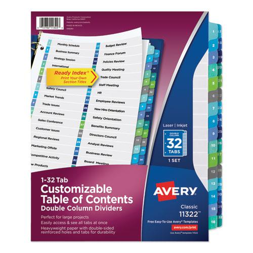 Customizable TOC Ready Index Double Column Multicolor Dividers, 32-Tab, Letter. Picture 1