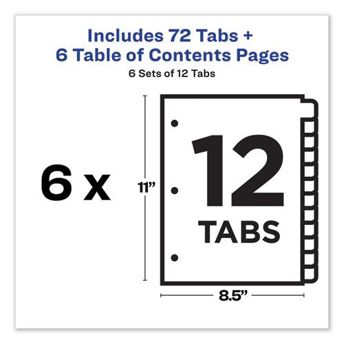 Customizable TOC Ready Index Multicolor Dividers, 12-Tab, Letter, 6 Sets. Picture 5