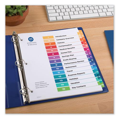 Customizable TOC Ready Index Multicolor Dividers, 15-Tab, Letter, 6 Sets. Picture 2