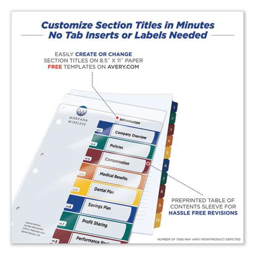 Ready Index Customizable Table of Contents, Asst Dividers, 10-Tab, Ltr, 6 Sets. Picture 3