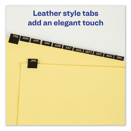 Preprinted Black Leather Tab Dividers w/Copper Reinforced Holes, 12-Tab, Letter. Picture 6