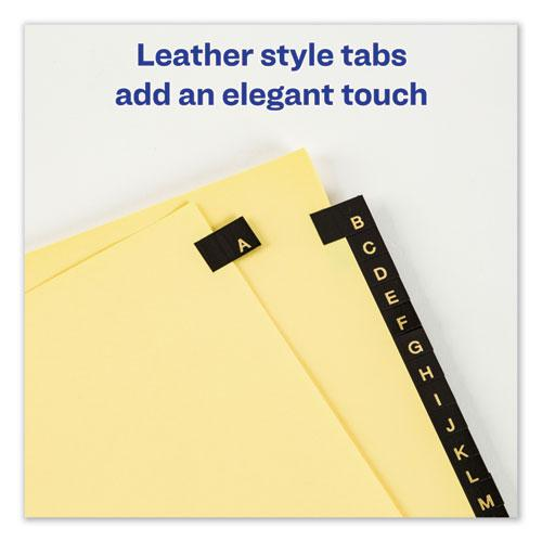 Preprinted Black Leather Tab Dividers w/Copper Reinforced Holes, 25-Tab, Letter. Picture 5