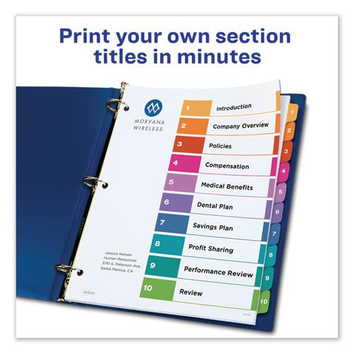 Customizable Table of Contents Ready Index Dividers with Multicolor Tabs, 10-Tab, 1 to 10, 11 x 8.5, White, 3 Sets. Picture 5