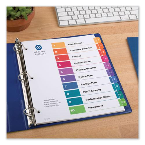 Customizable Table of Contents Ready Index Dividers with Multicolor Tabs, 10-Tab, 1 to 10, 11 x 8.5, White, 3 Sets. Picture 7
