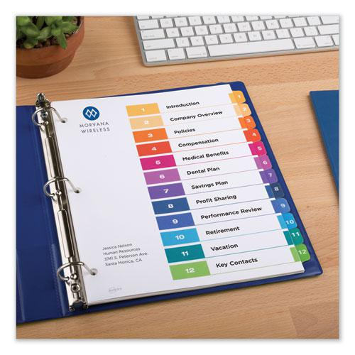 Customizable Table of Contents Ready Index Dividers with Multicolor Tabs, 12-Tab, 1 to 12, 11 x 8.5, White, 3 Sets. Picture 5