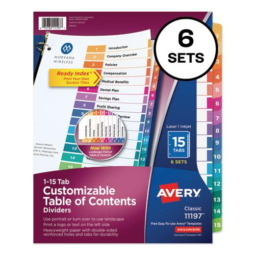 Customizable TOC Ready Index Multicolor Dividers, 15-Tab, Letter, 6 Sets. Picture 1
