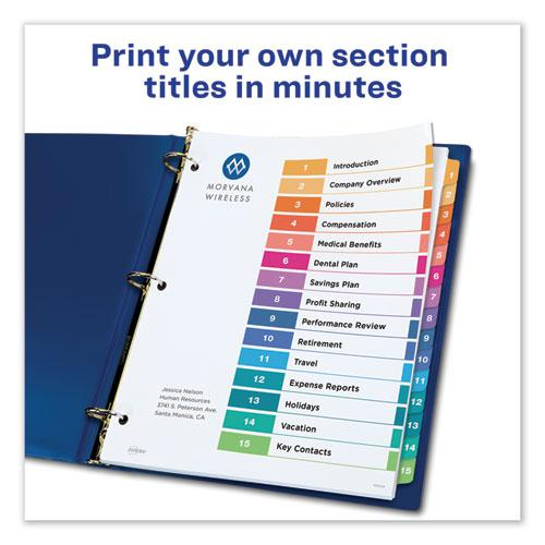 Customizable TOC Ready Index Multicolor Dividers, 15-Tab, Letter, 6 Sets. Picture 6