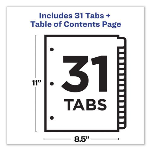 Customizable Table of Contents Ready Index Dividers with Multicolor Tabs, 31-Tab, 1 to 31, 11 x 8.5, White, 1 Set. Picture 6