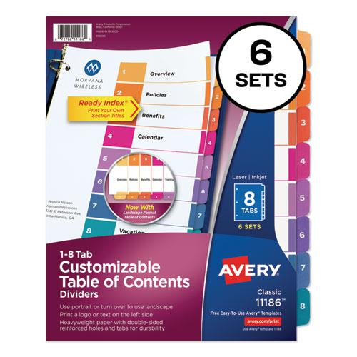 Customizable TOC Ready Index Multicolor Dividers, 8-Tab, Letter, 6 Sets. Picture 1
