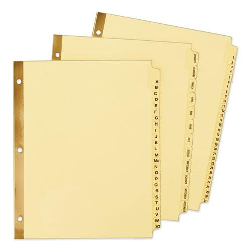 Preprinted Laminated Tab Dividers w/Gold Reinforced Binding Edge, 12-Tab, Letter. Picture 2