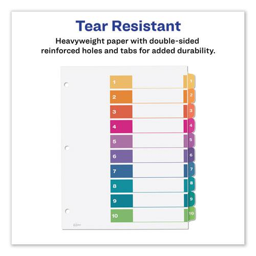 Customizable Table of Contents Ready Index Dividers with Multicolor Tabs, 10-Tab, 1 to 10, 11 x 8.5, White, 3 Sets. Picture 2