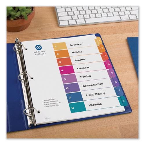 Customizable Table of Contents Ready Index Dividers with Multicolor Tabs, 8-Tab, 1 to 8, 11 x 8.5, White, 3 Sets. Picture 5