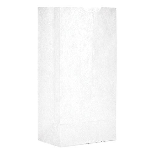 """Grocery Paper Bags, 30 lbs Capacity, #4, 5""""w x 3.33""""d x 9.75""""h, White, 500 Bags. Picture 1"""