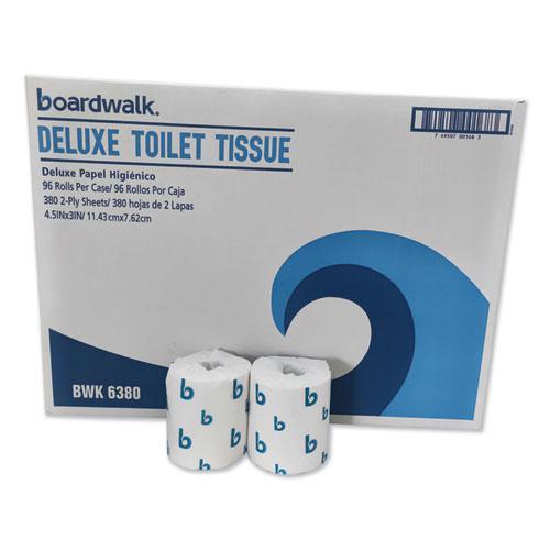 Boardwalk Green Plus Bathroom Tissue, 2-Ply, White, 400 Sheets, 96 Rolls/Carton. Picture 1